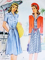 1940s CUTE Dress and Bolero Jacket Pattern McCALL 4574 WW II Era Fashion Bust 32 Vintage Sewing Pattern