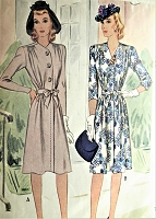 1940s STYLISH Draped Shoulders Dress Pattern McCALL 4598 WW II Ear Classy Dress Day or Dinner Bust 36 Vintage Sewing Pattern
