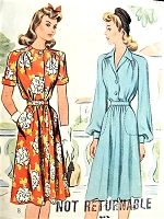 1940s PRETTY WW II Era Dress Pattern McCALL 4732 Short Sleeve Summer or Long Sleeved Fall Style, Bust 30 Vintage Sewing Pattern