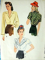 1940s STYLISH Blouse Pattern McCALL 4766 Three Pretty Style Versions Bust 34 Vintage Sewing Pattern
