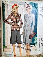 1940s STYLISH Tailored Suit Pattern McCALL 4814 Beautiful Jacket Details, Front Pleat Skirt Bust 30 Vintage Sewing Pattern