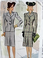 1940s Vintage CLASSIC Jacket and Skirt McCall 4904 Bust 30 Sewing Pattern
