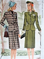 Vintage 1940s SMART Two Piece Suit McCall 5068 Sewing Pattern Bust 34