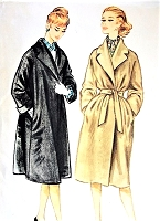 1950s CLASSY Dressy or Casual Coat Pattern McCALLS 5102 Loose or Belted Lovely Wide Notched Shawl Collar Bust 34 Vintage Sewing Pattern