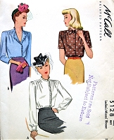 1940s LOVELY Blouse Pattern McCALL 5128 War Time WW II Era Three Versions Bust 30 Vintage Sewing Pattern