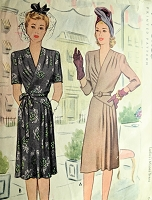1940s CHIC Draped and Pleated Film Noir Dress Pattern McCALL 5142 Beautiful Design Day or Dinner Evening  Dress Bust 34 Vintage Sewing Pattern