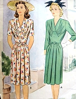 1940s  BEAUTIFUl Draped Bodice Dress Pattern McCALL 5270 WW II Daytime or After 5 Lovely Dress Bust 32 Vintage Sewing pattern