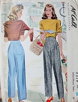 1940s FABULOUS Katharine Hepburn Style Pants Pattern McCALL 5319 Flattering High Waist Pleated Trousers, WW II Era Side Button Slacks Waist 24 Vintage Sewing Pattern