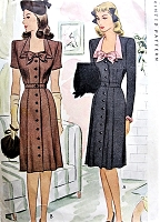 1940s CUTE Front Button Dress Pattern McCALL 5414 WW II Lovely Day or After 5 Dress Figure Flattering Design Bust 30 Vintage Sewing Pattern