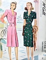 1940s LOVELY Day or Cocktail Party Dinner Dress Pattern McCALL 5506 Beautiful Design Details Bust 32 Vintage Sewing Pattern