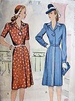 1940s Vintage STYLISH Dress and Belt McCall 5515 Bust 36 Sewing Pattern
