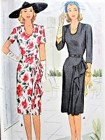1940s BEAUTIFUL Party Dress Pattern McCALL 5566 U Shape Neckline, Figure Flattering Side Cascade Drapery Bust 30 Vintage Sewing Pattern