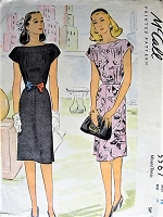 1940s PRETTY Slim Dress Pattern McCALL 5567 Day or Cocktail Party Bateau Neckline Dress WW II Era Bust 32 Vintage Sewing Pattern