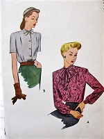 1940s LOVELY Blouse Pattern McCALL 5745 Two Blouse Styles WW II Era Bust 32 Vintage Sewing Pattern FACTORY FOLDED