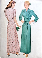 1940s CLASSIC Forties Housecoat Robe Pattern McCALL 5826 Lovely Draped Shoulders, Figure Flattering Design Bust 30 Vintage Sewing Pattern FACTORY FOLDED