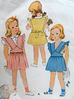 1940s CUTE Little Girls Pinafore Jumper and Blouse Pattern McCALL 5945 Sweet Styles Toddler Size 2 Vintage Childrens Sewing Pattern