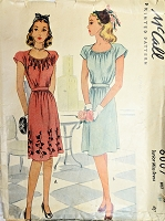 1940s PRETTY Dress Pattern McCALL 6007 Gathered Bodice Dress Day or Party WW II Era Bust 30 Vintage Sewing Pattern