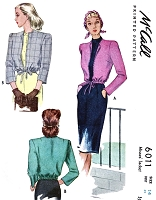 1940s STYLISH Blouson Jacket Pattern McCALL 6011 Easy Elegance Bust  32 Vintage Sewing Pattern