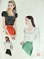 1940s LOVELY Square Neckline Blouse Pattern McCALL 6027 Puff or Long Sleeves Bust 32 Vintage Sewing Pattern FACTORY FOLDED