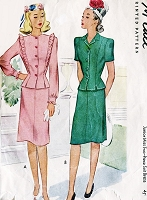 1940s CUTE Suit or Two Pc Dress Pattern McCALL 6127 Two Style Versions Bust 34 Vintage Sewing Pattern UNCUT