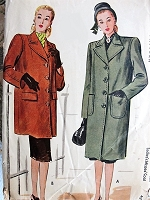 1940s STYLISH Coat and Jacket Pattern McCALL 6180 Boxy Style Coats Bust 38 Vintage Sewing Pattern