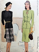 1940s FILM NOIR 2 Pc Suit Dress Pattern McCALL 6215 KEYHOLE Neckline Day or Cocktail Dinner Dress Bust 30 Vintage Sewing Pattern FACTORY FOLDED
