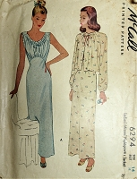1940s PIN UP Style Nightgown and Jacket Pattern McCALL 6294 Beautiful Gathered Bodice Nightgown, Low V Back, Loose Bed Jacket Bust 32 Vintage Sewing Pattern