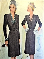 1940s LOVELY V Neck Dress Pattern McCALL 6195 Day or After 5 Dress Bust 38 Vintage Sewing Pattern