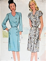 1940s Vintage CLASSIC Wrap Dress with Buttons McCall 6341 Sewing Pattern Bust 36