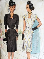 1940s ATTRACTIVE Keyhole Neckline Dress McCall 6357 Vintage Sewing Pattern Bust 38