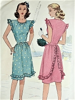 1940s CUTE Summer Dress Pattern McCALL 6397 Sweet Forties Style Bust 33 Vintage Sewing Pattern