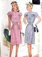 1940s PERKY Dress Pattern McCALL 6469 Two Cute Styles Bust 32 Vintage Sewing Pattern