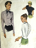 1940s FILM NOIR Style Blouse Pattern McCALL 6644 Button Back Fitted Blouse Two Neckline Styles Day or Evening Overblouse Bust 30 Vintage Sewing Pattern