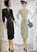 1940s FABULOUS Day or Evening Dress Pattern McCALL 6677 Beautiful Slim Dress with Draped Over Skirt Bust 32 Vintage Sewing Pattern