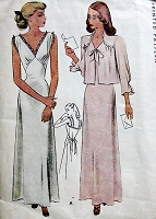 1940s GLAM Pin Up Style Nightgown and Bed Jacket Pattern McCALL 6710 Deep V Neckline Gown Bust 30 Vintage Sewing Pattern