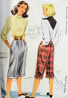 1940s VINTAGE Knee Length Slacks McCall 6791 Waist 24 Sewing Pattern