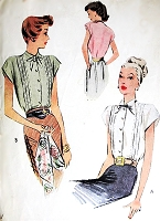 1940s BEAUTIFUL War Era Forties Blouse Pattern McCALL 6819 Lovely Pin Tuck Bodice, Perfect Suit Blouse Bust 34 Vintage Sewing Pattern