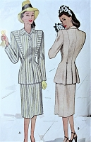 1940s STYLISH Suit Pattern McCALL 6856 Lovely Fitted jacket and Slim Skirt Bust 32 Vintage Sewing Pattern