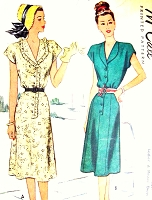 1940s PRETTY Dress Pattern McCALL 6903 Step In Dress Style Two Versions Bust 40 Vintage Sewing Pattern