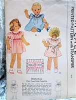 1930s ADORABLE Little Girls Dress Pattern McCALL 692 Sweet Shirley Temple Style Girls dress with Cross Stitch Smocking Toddler Size 1 Vintage Childrens Sewing Pattern FF