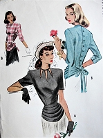 1940s Vintage HAUTE Blouse with peplum McCall 6948 Sewing Pattern Bust 36
