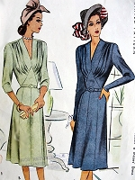 1940s BEAUTIFUL Day or Dinner Dress Pattern McCALL 6991 Lovely Draped V Neckline Figure Flattering Design Bust 34 Vintage Sewing Pattern