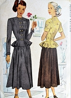 1940s BEAUTIFUL Peplum Suit Dress Pattern McCALL 7060  Fitted Ruffled Peplum Jacket and Full Skirt Day or Evening Bust 31 Vintage Sewing Pattern