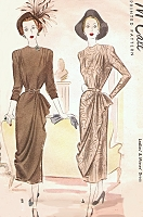 1940s STUNNING Front Drape Day or Evening Dress Pattern McCALL 7115 Unique Striking Design Bust 34 Vintage Sewing Pattern FACTORY FOLDED