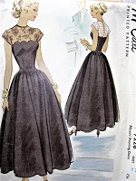1940s BEAUTIFUL Evening Cocktail Party Dress Pattern McCALL 7228 Romantic Sheer Yoke Scalloped Bodice, Full Dancing Skirt Dress Bust 32 Vintage Sewing Pattern