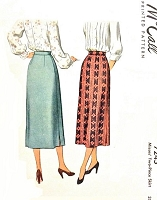 1940s  SLEEK Slim Skirt Pattern McCALL 7245 Easy To Make 2 Pc Skirt, Classic Design Waist 26 Vintage Sewing Pattern