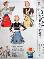 1930s CHEERFUL Set of Aprons with Applique Flowers McCall 725 Vintage Sewing Pattern