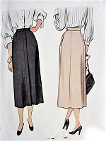 1940s STYLISH Slim Skirt Pattern McCALL 7275 Classic Design Skirt Waist 30 Vintage Sewing Pattern