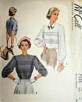 1940s BEAUTIFUL Blouse Pattern McCALL 7335 Layered Tucks, Button Back Blouses, Bust 34 vintage Sewing Pattern