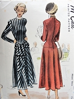 1940s Vintage BEAUTIFUL Dress with Sash in Four Styles with Long Gathered or Short Sleeves McCall 7474 Sewing Pattern Bust 30